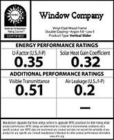 window energy efficiency rating label